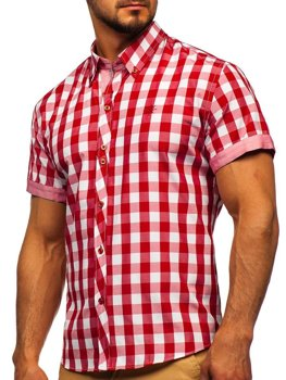Men's Short Sleeve Checkered Shirt Red Bolf 6522