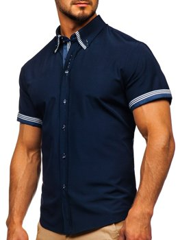 Men's Short Sleeve Shirt Navy Blue Bolf 2911