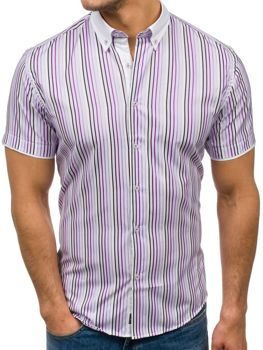 Men's Short Sleeve Striped Shirt Violet Bolf 5201