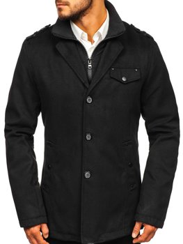 Men's Single-Breasted High Collar Coat Black Bolf 8853