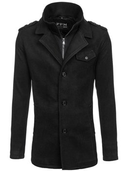 Men's Single-Breasted High Collar Coat Black Bolf 8853F