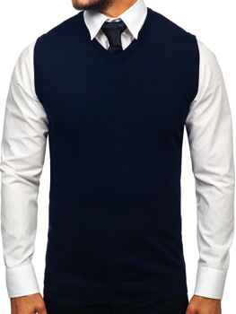 Men's Sleeveless Jumper Navy Blue Bolf 2500