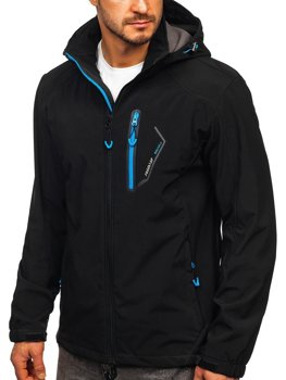 Men's Softshell Jacket Black-Sky Blue Bolf BK017