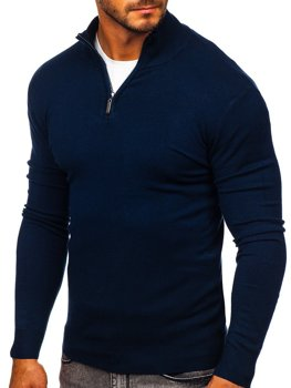 Men's Stand Up Sweater Navy Blue Bolf YY08