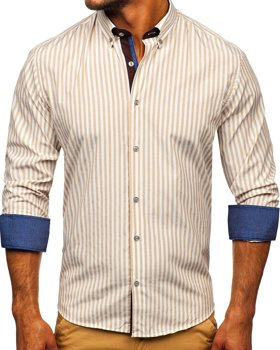 Men's Striped Long Sleeve Shirt Beige Bolf 20704