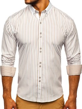 Men's Striped Long Sleeve Shirt Beige Bolf 9713