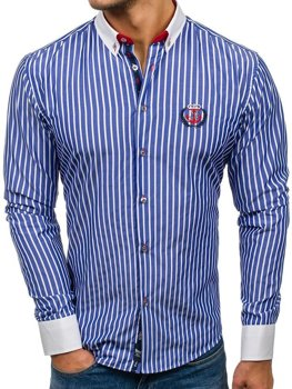 Men's Striped Long Sleeve Shirt Blue Bolf 1771