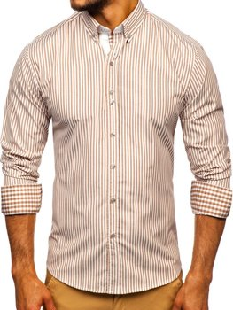 Men's Striped Long Sleeve Shirt Brown Bolf 9711