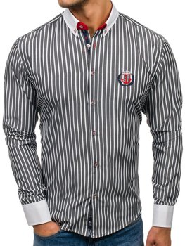 Men's Striped Long Sleeve Shirt Graphite Bolf 1771