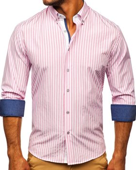 Men's Striped Long Sleeve Shirt Pink Bolf 20704
