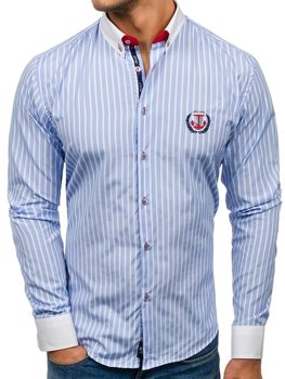 Men's Striped Long Sleeve Shirt Sky Blue Bolf 1771