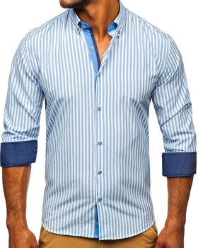 Men's Striped Long Sleeve Shirt Sky Blue Bolf 20704
