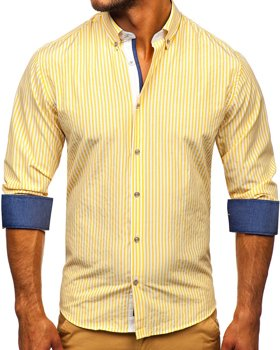 Men's Striped Long Sleeve Shirt Yellow Bolf 20704