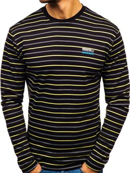 Men's Striped Long Sleeve Top Black Bolf 1519-A