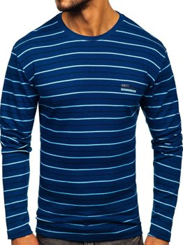 Men's Striped Long Sleeve Top Blue Bolf 1519