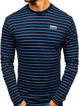 Men's Striped Long Sleeve Top Navy Blue Bolf 1519-A