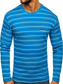 Men's Striped Long Sleeve Top Turquoise Bolf 1519