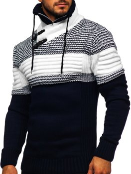 Men's Thick Stand Up Sweater Navy Blue Bolf 2002
