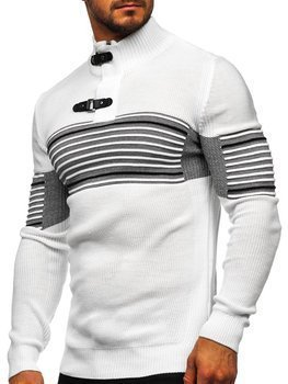 Men's Thick Stand Up Sweater White Bolf 1029