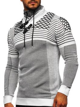 Men's Thick Stand Up Sweater White Bolf 1067