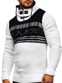 Men's Thick Stand Up Sweater White Bolf 2020