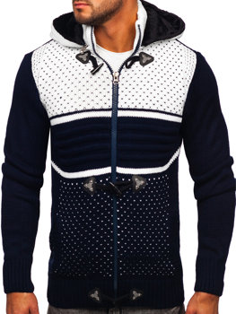Men's Thick Zip Hooded Sweater Navy Blue Bolf 2047