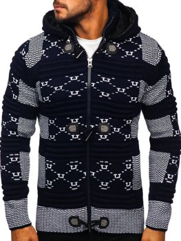 Men's Thick Zip Hooded Sweater Navy Blue Bolf 2059