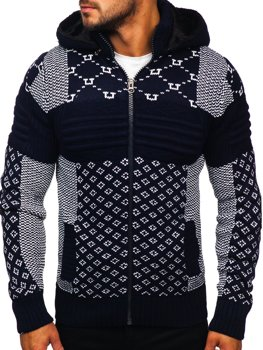 Men's Thick Zip Hooded Sweater Navy Blue Bolf 2060