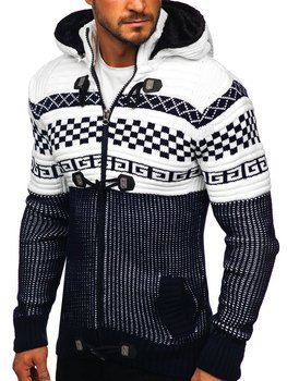 Men's Thick Zip Hooded Sweater Navy Blue Bolf 2061