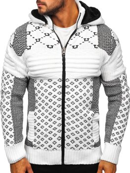 Men's Thick Zip Hooded Sweater White Bolf 2060