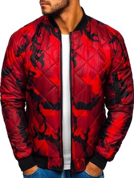 Men's Transitional Bomber Jacket Camo-Red Bolf MY01