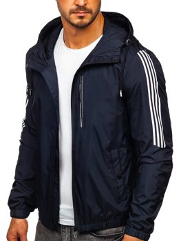 Men's Transitional Down Jacket with Hood Navy Blue Bolf 6172
