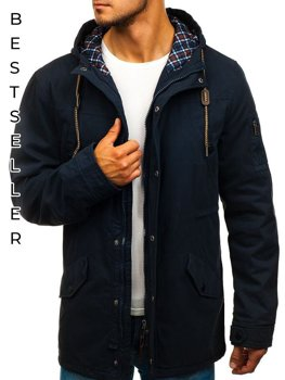 Men's Transitional Parka Jacket Navy Blue Bolf 1818
