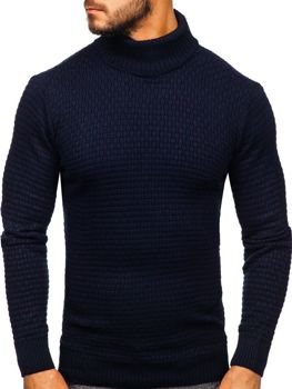 Men's Turtleneck Jumper Navy Blue Bolf 323