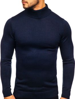 Men's Turtleneck Jumper Navy Blue Bolf 4519