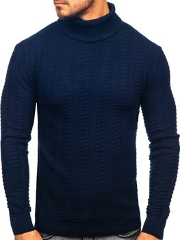 Men's Turtleneck Sweater Navy Blue Bolf 314