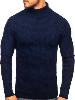 Men's Turtleneck Sweater Navy Blue Bolf 322