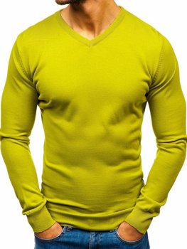 Men's V-neck Jumper Light Green Bolf 2200