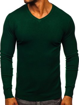 Men's V-neck Sweater Green Bolf YY03