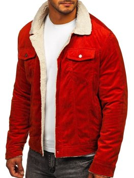 Men's Warm Corduroy Trucker Jacket with Furry Collar Orange Bolf 1179