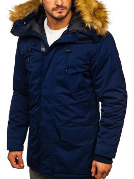 Men's Winter Parka Alaska Jacket Navy Blue Bolf HZ8109