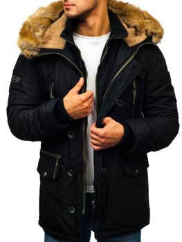 Men's Winter Parka Jacket Black Bolf 1045