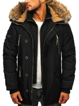 Men's Winter Parka Jacket Black Bolf 1045A