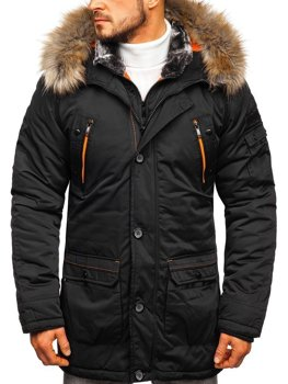 Men's Winter Parka Jacket Black Bolf 1067