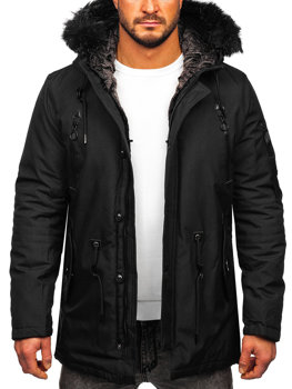 Men's Winter Parka Jacket Black Bolf 1068