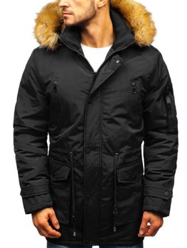 Men's Winter Parka Jacket Black Bolf R102