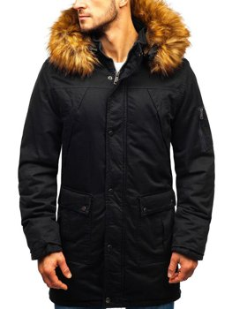 Men's Winter Parka Jacket Black Bolf R106