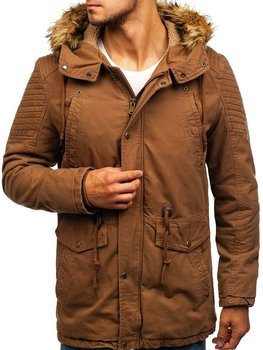 Men's Winter Parka Jacket Brown Bolf 5810
