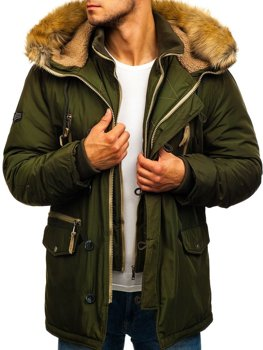 Men's Winter Parka Jacket Green Bolf 1045