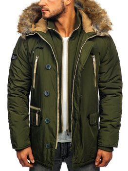 Men's Winter Parka Jacket Green Bolf 1045A